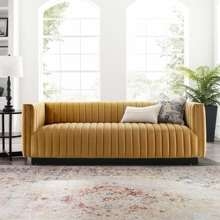 Silver Orchid Rosar Channel Tufted Velvet Sofa