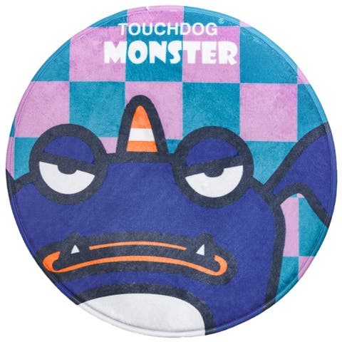 Touchdog Cartoon Crabby Tooth Monster Rounded Cat and Dog Mat - One Size