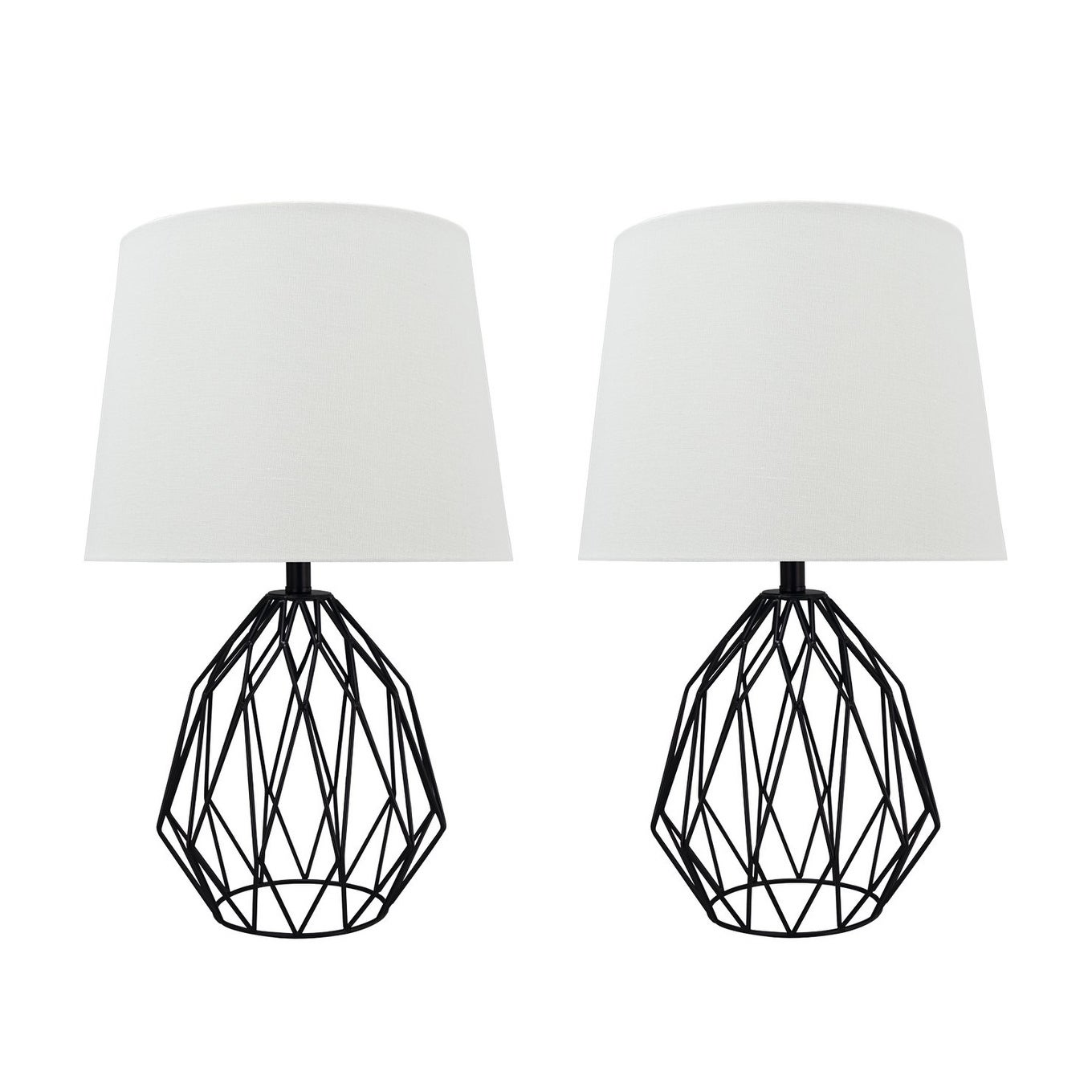 Picture of: Shop Black Friday Deals On Aspen Creative 22 Matte Black Metal Wire Table Lamp Set Of 2 Overstock 30681286