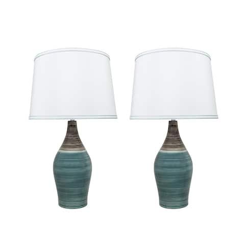 "Aspen Creative 27.5"" Brown & Blue Ceramic Table Lamp (Set of 2)"