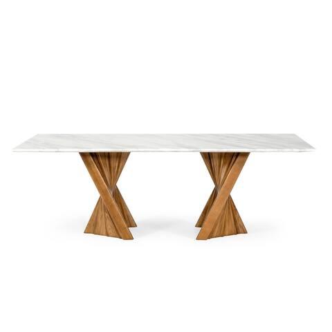 Modrest Cadence Modern Walnut & Marble Dining Table