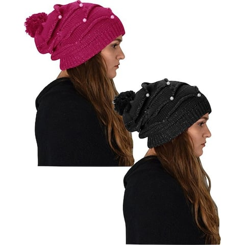Cute Trendy 2 Pack Knitted Hats With Pearls for Women's