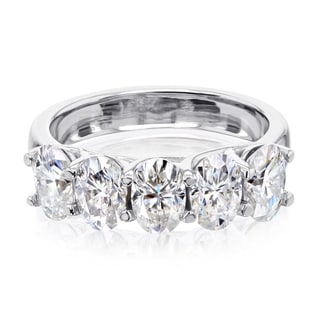 Link to Annello by Kobelli 14k Gold 2.5ct TGW Five Stone Trellis X-Prong Oval Moissanite Women's Wedding Band Similar Items in Rings