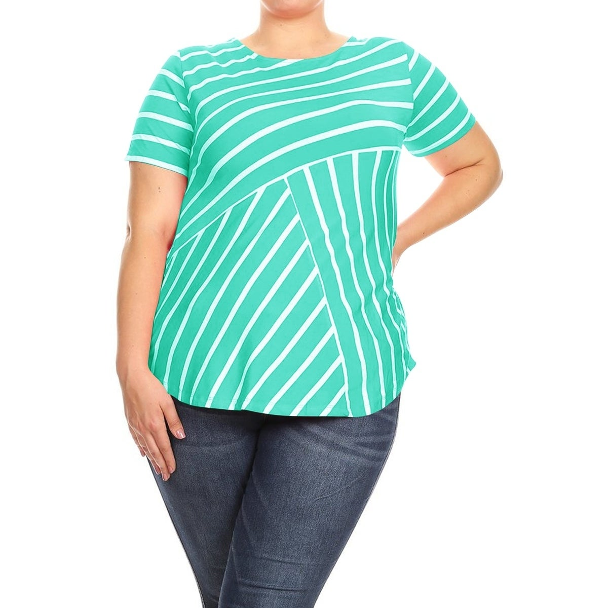 Fashion Women Short Sleeve Fishnet Panel Plus Size Tunic T-shirt Applique Tops