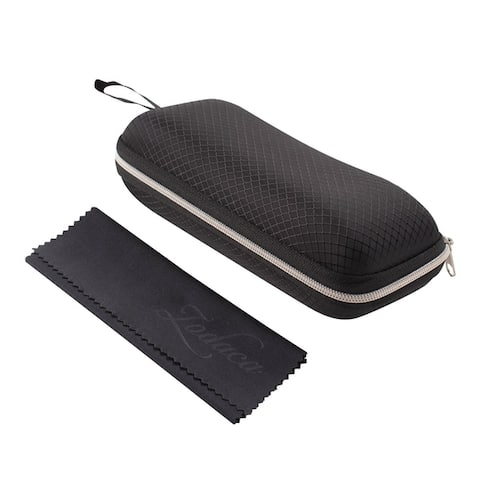 Sunglasses Case, Zodaca Portable Travel Zipper Eyeglasses Case, Durable EVA with Cleaning Cloth