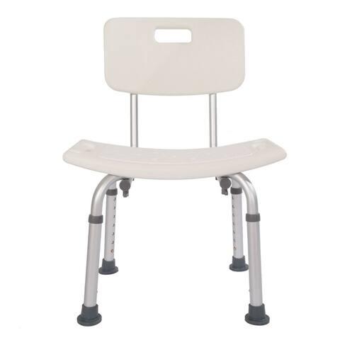 Aluminum Alloy Elderly Bath Chair with Backrest White