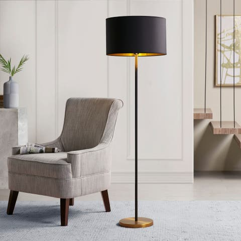 Hunts Gold/ Black Floor Lamp by Martha Stewart
