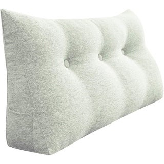 WOWMAX Bed Rest Wedge Bolster Reading Pillow Off White Daybed Back Support