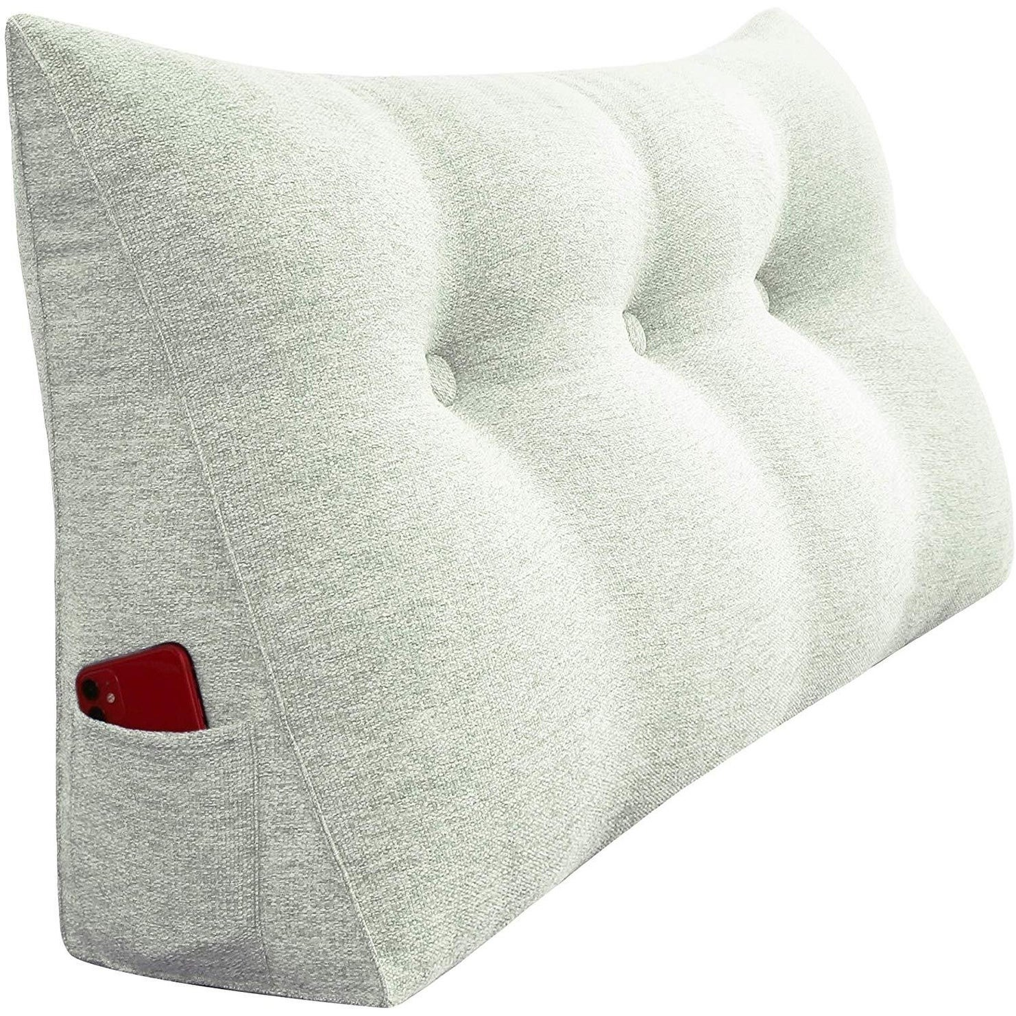 Bed Wedge Pillow Bolster Elevation Cushion Backrest Cushion Washable Cover~White
