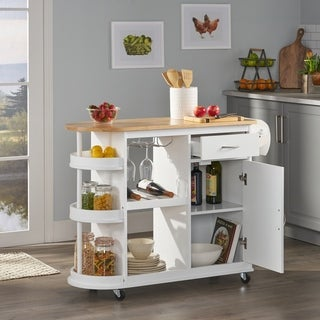 "Link to Corby Kitchen Cart with Wheels by Christopher Knight Home - 43.12"" W x 17.75"" D x 34.40"" H Similar Items in Kitchen Carts"
