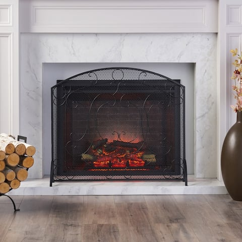 """Burnell Contemporary Iron Fireplace Screen by Christopher Knight Home - 30.75"""" H x 36.00"""" W x 10.00"""" D"""