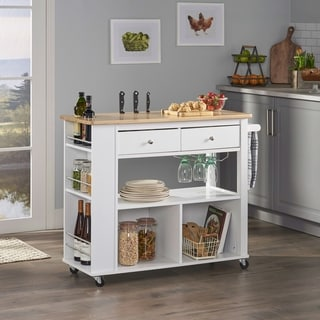 "Link to Cato Kitchen Cart with Wheels by Christopher Knight Home - 42.45"" W x 17.75"" D x 34.40"" H Similar Items in Kitchen Carts"