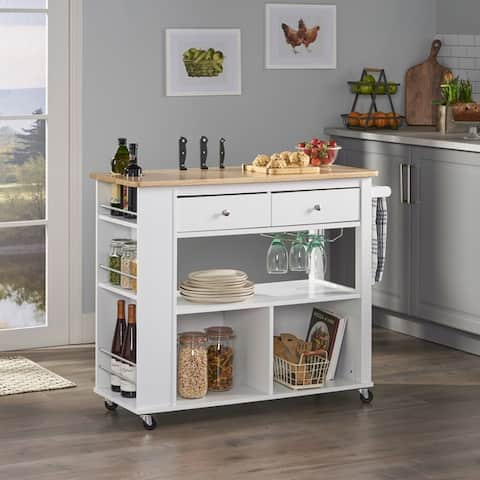 """Cato Kitchen Cart with Wheels by Christopher Knight Home - 42.45"""" W x 17.75"""" D x 34.40"""" H"""