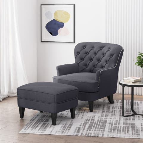 Correia Contemporary Tufted Fabric Club Chair and Ottoman Set by Christopher Knight Home