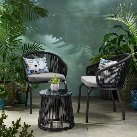 Skycrest Outdoor Modern 2 Seater Chat Set by Christopher Knight Home