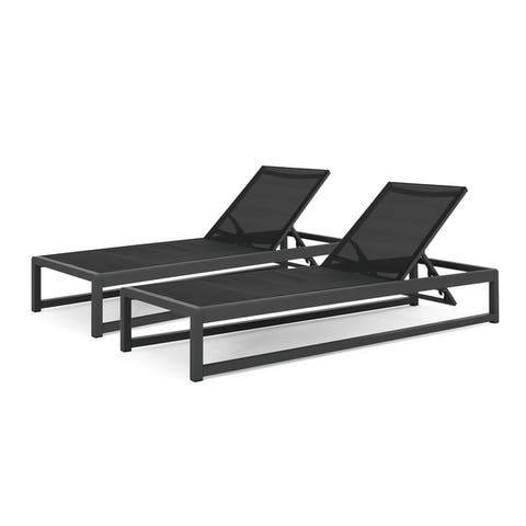 """Modesta Outdoor Mesh Chaise Lounge (Set of 2) by Christopher Knight Home - 76.50"""" W x 25.50"""" D x 11.50"""" H"""