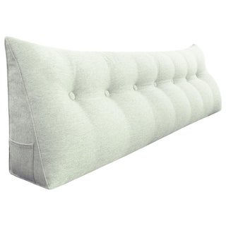WOWMAX Day Bed Rest Wedge Bolster Reading Pillow Back Support Off White King Size