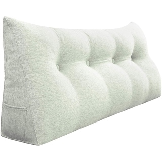 WOWMAX Bed Wedge Pillow Bolster Large Backrest Support Off White Full Size