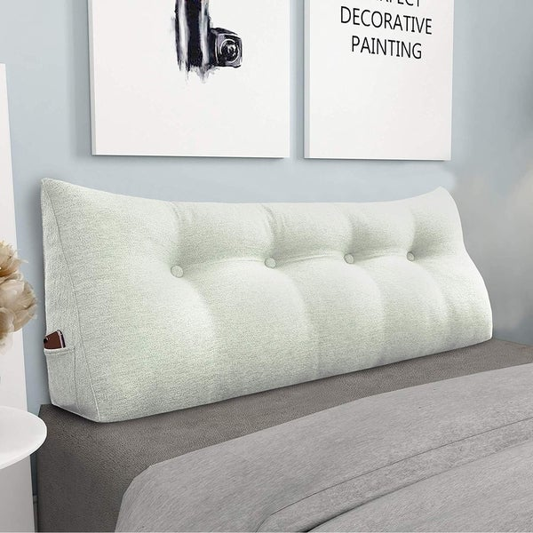 """WOWMAX Bed Rest Wedge Pillow Extra Long Large Reading Pillow Off White 47"""""""