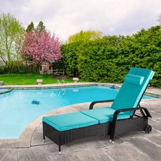 Kinbor Patio Chaise Lounge, Outdor Reclining Lounge Chair for Beach Pool Porch, Wicker Rattan Chaise w/ Wheels