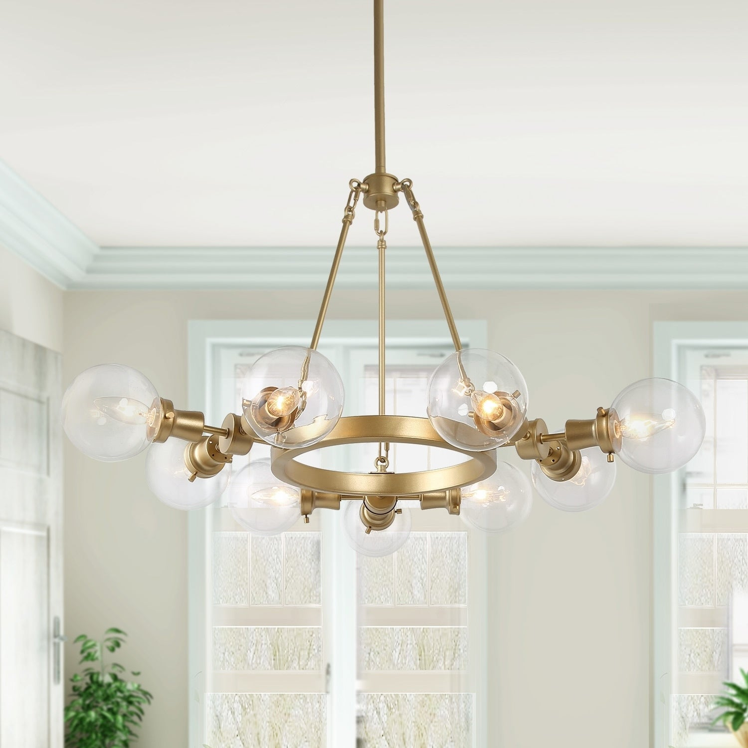 Glam 9 Light Gold Wagon Wheel Chandelier With Glass Globe Shades Overstock 30684523