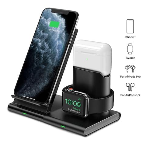 3 in 1 Wireless Charger Apple Watch and AirPods Charging Station iWatch & EarPod Charging Dock 7.5W Fast Charging - Black