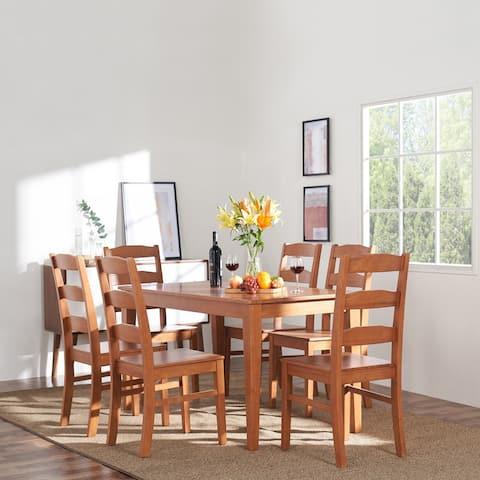 Elsmere Indoor 7-Piece Wood Ladderback Chair Dining Set