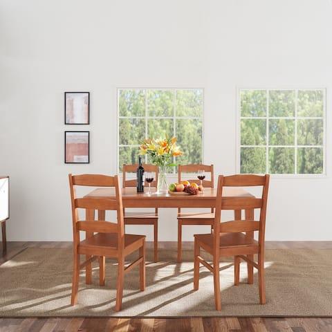 Elsmere Indoor 5-Piece Wood Ladderback Chair Dining Set