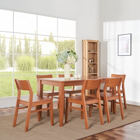 Elsmere Indoor 7-Piece Wood Curve Chair Dining Set