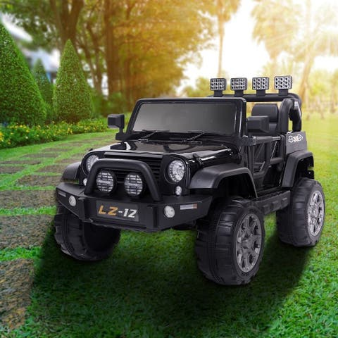 12V Kid Ride On Car Toy Jeep Rechargeable Battery Remote Control Black