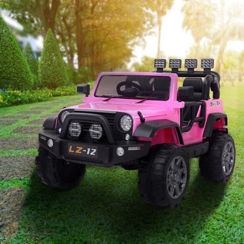 12V Kids Ride On Car Toy Jeep Rechargeable Battery Remote Control Pink