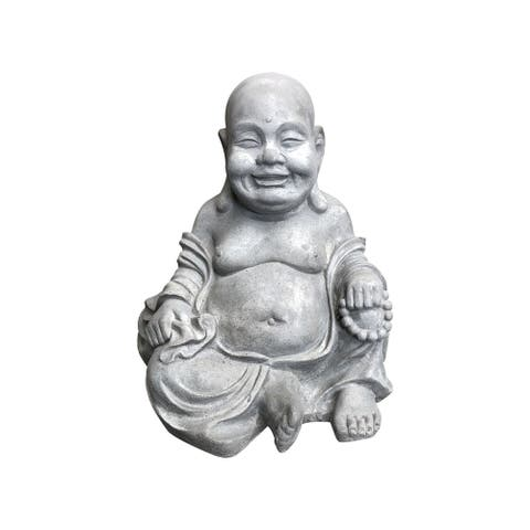 Kante Lightweight Sitting Happy Buddha Zen Indoor Outdoor Statue, 15.7 Inch Tall, Natural Concrete