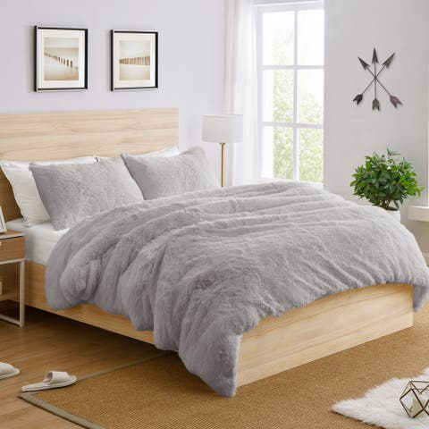 Sweet Jojo Designs Grey Boho Faux Fur 3pc Queen-size Duvet Comforter Cover Bedding Set - Gray Fuzzy Plush Shaggy Fluffy Luxury