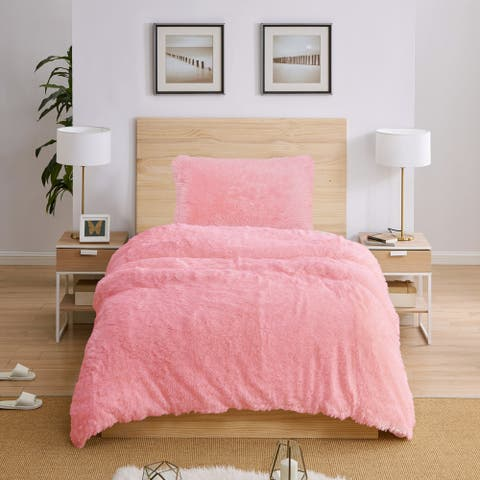 Sweet Jojo Designs Pink Boho Faux Fur 2pc Twin-size Duvet Comforter Cover Bedding Set - Fuzzy Plush Shaggy Fluffy Luxury Teen