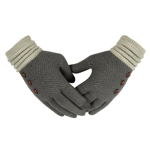 Classic Knit Touch Screen Gloves with Showpiece Buttons