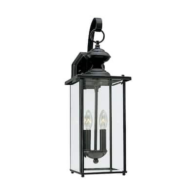 Sea Gull Jamestowne Black 2-light LED Outdoor Wall Lantern