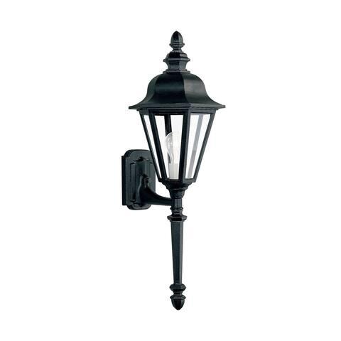 Sea Gull Brentwood Black 1-light LED Convertible Outdoor Wall Lantern