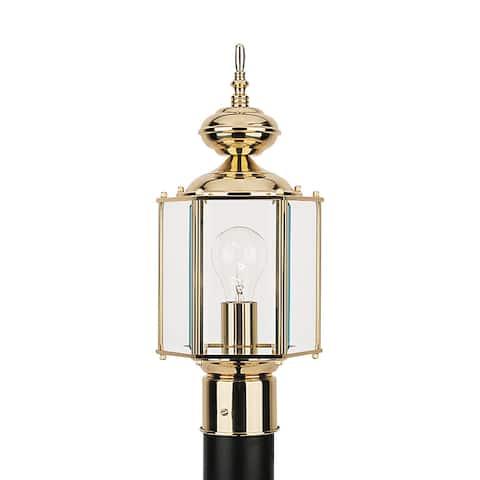 Sea Gull Classico Polished Brass 1-light Outdoor Post Lantern
