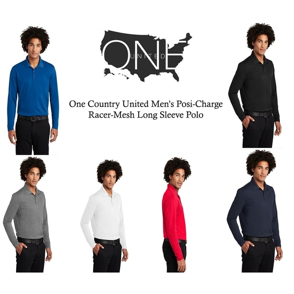 One Country United Mens PosiCharge RacerMesh Long Sleeve Polo