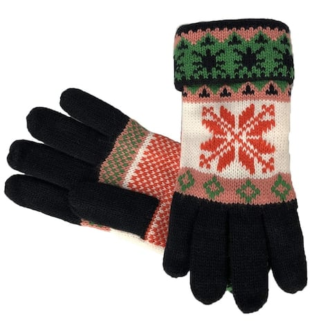 Fair Isle Reindeer Snowflake Plush Fleece Lined Double Layer Gloves
