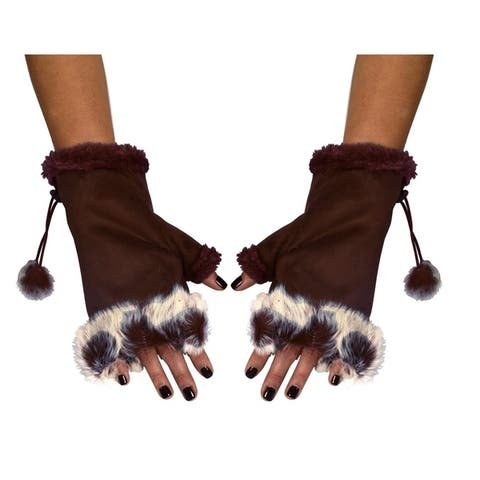 Women?s Fashionable Fingerless Trimmed Size Adjusting Winter Gloves