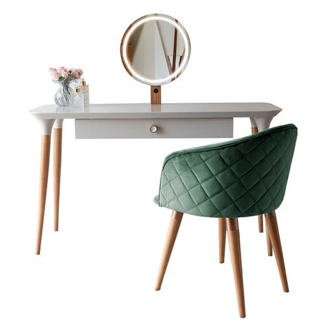 2-Piece HomeDock Vanity Dressing Table Set with Mirror Led Lights