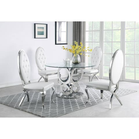 Best Quality Furniture Clear Glass Table Top Dining Set with Stainless Steel Base