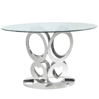 Link to Best Quality Furniture Clear Glass Table Top Dining Table with Stainless Steel Base Only Similar Items in Dining Room & Bar Furniture