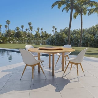 Amazonia Katie 5 piece Teak finish & Resin Patio Dining Set with Lazy Susan