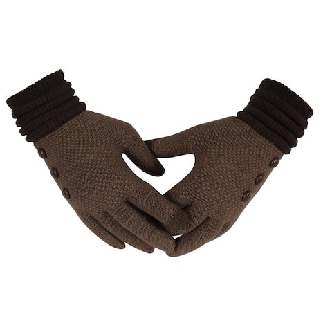 Classic Knit Warm Cozy Touch Screen Gloves with Showpiece Buttons
