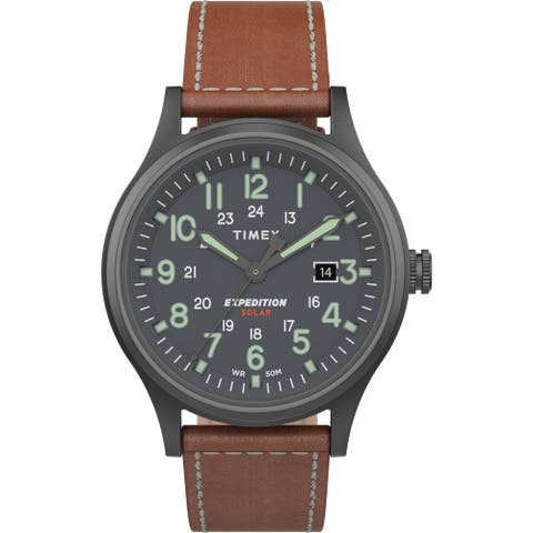 Timex Men's TW4B18400 Expedition Scout Solar 40mm Brown/Gunmetal Watch