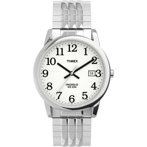 Timex Men's TW2U09000 Easy Reader 35mm Silver/White Perfect Fit Watch
