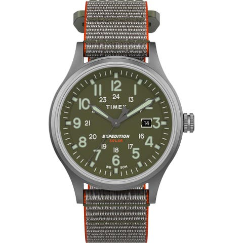 Timex Men's TW4B18600 Expedition Scout Solar 40mm Green/Silver Watch