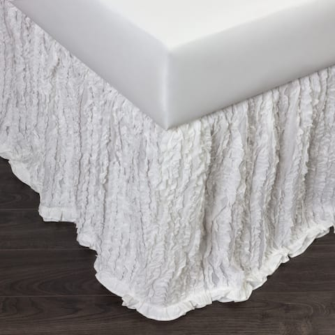 Cottage Home White Cotton Ruffle 3 Piece Tuck in Bed Skirt